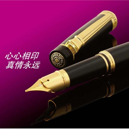毕加索法国罗马假日纯黑镀金笔/宝珠笔