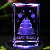 七彩灯光生日快乐水晶音乐盒