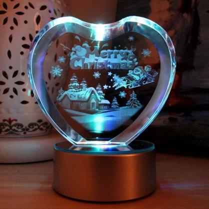 七彩光水晶梦幻爱心圣诞节