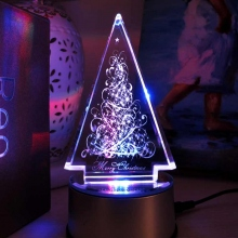 水晶内雕发光圣诞树