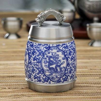 纯锡青花瓷龙韵神州茶叶罐