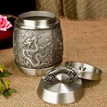 纯锡龙腾盛世茶叶罐