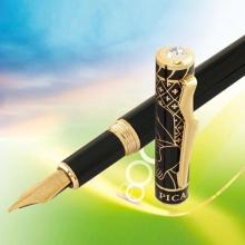 法国玛雅天韵纯黑镀金笔