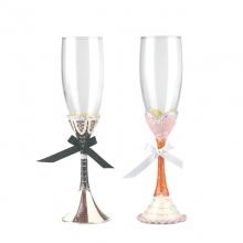 珐琅彩香槟酒婚礼对杯