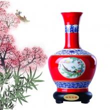 釉中红瓷描金如花似锦花瓶