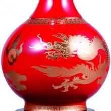富贵平安釉中红瓷描金花瓶