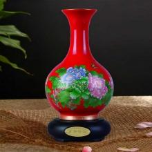 富贵吉祥釉中红瓷描金花瓶