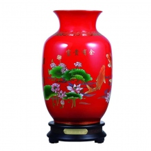 富贵有余釉中红瓷描金花瓶