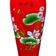 釉中红瓷描金和谐圆满花瓶
