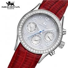 NINORIVA尼诺里拉镶钻表带防污石英女腕表(表带白/红可选)