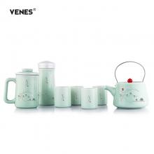 菲驰(VENES)玺玉养生青瓷家庭套装