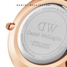丹尼尔惠灵顿 (DanielWellington)金色边白盘白皮带女士手表